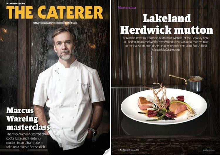 Marcus Wareing i jego przepis na baraninę Lakeland Herdwick; zdjęcie wykonane dla magazynu The Caterer, 2015, fot. Lisa Barber