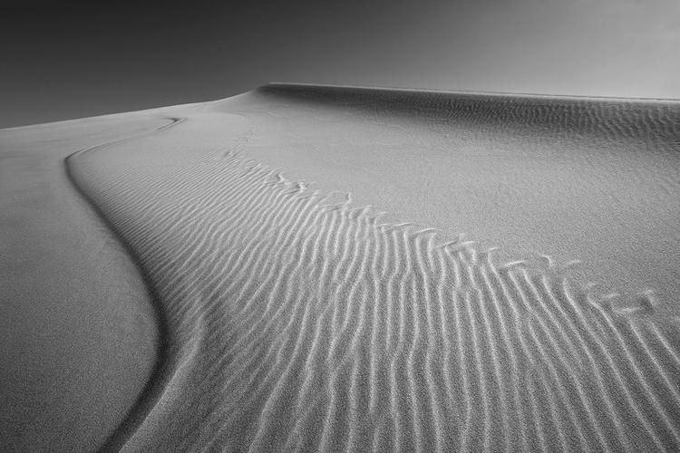 Wzory na piasku idealnie nadają się do zdjęć w skali szarości. To wydmy Eureki w Kalifornii, gdzie wiatr wieje dosyć mocno i układa ziarenka piasku w fantastyczne wzory, fot. David Clapp.