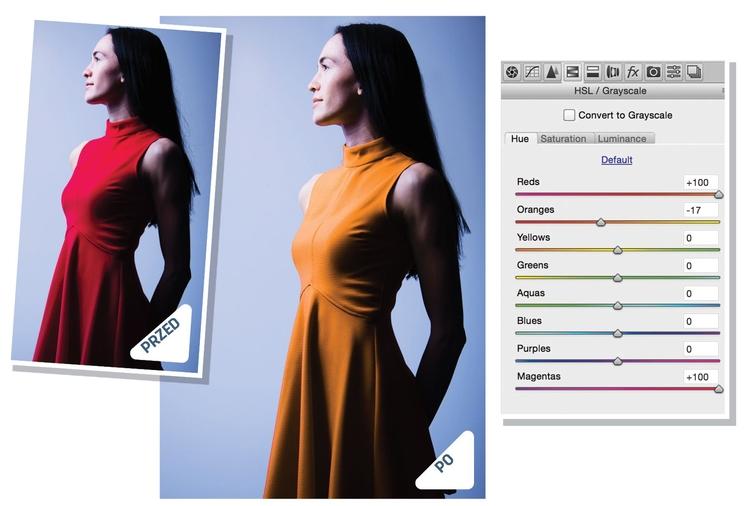 Ukierunkowane zmiany Kliknij prawym przyciskiem myszy zdjęcie wyjściowe w programie Bridge i wybierz polecenie Otwórz w Camera Raw. Chwyć Korekta ukierunkowana, a następnie kliknij prawym przyciskiem myszy zdjęcie i wybierz pozycję Barwa. Przeciągaj kursorem w lewo lub w prawo w obszarze sukienki, by zmienić kolory. Następnie ponownie kliknij prawym przyciskiem myszy fotografię i wybierz opcję Luminancja, po czym przeciągnij kursorem raz jeszcze, aby zmienić jasność barwy.