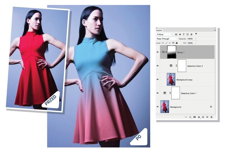 Selektywne mieszanie Otwórz obraz w Photoshopie i wywołaj Warstwa>Nowa warstwa dopasowania>Kolor selektywny. Wybierz barwę, którą chcesz zmodyfikować, a następnie poprzeciągaj suwaki, aby ją zmienić. Aby uzyskać efekt przejścia kolorystycznego, stwórz dwie różne warstwy z odpowiednio zmienionymi barwami, a następnie dodaj maskę na górze stosu warstw. Chwyć narzędzie Gradient i rozciągnij po przekątnej czarno-biały gradient.