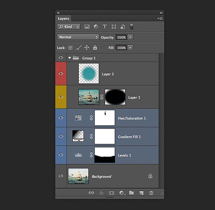 Masz Photoshopa CS6? Poznaj inne narzędzia... Kolor etykiet Użytkownik Photoshopa CS6 ma jeszcze więcej możliwości porządkowania swoich projektów, opartych na wykorzystaniu warstw. Na początek, możesz pokolorować według jakiegoś klucza swoje warstwy, aby łatwiej było Ci je identyfikować, co jest bardzo przydatne, jeśli pracujesz na złożonym obiekcie. Grupy warstw Aby oszczędniej gospodarować miejscem dostępnym na palecie Warstwy, przytrzymując klawisz [Shift], zaznacz podobne warstwy i wybierz polecenie Nowa grupa z warstw. Pozwala to umieścić kilka warstw w jednym folderze, który można otwierać, gdy jest to potrzebne. Fantastyczne filtry Chyba najbardziej użyteczną funkcją jest szansa filtrowania warstw. Ta rozwijana lista umożliwia wyświetlanie warstw spełniających określone kryteria, np. wykorzystujące ten sam tryb mieszania lub alfabetyczne uporządkowanie ich wg nazwy, co jest świetnym sposobem na zarządzanie dużymi, wielowarstwowymi projektami.