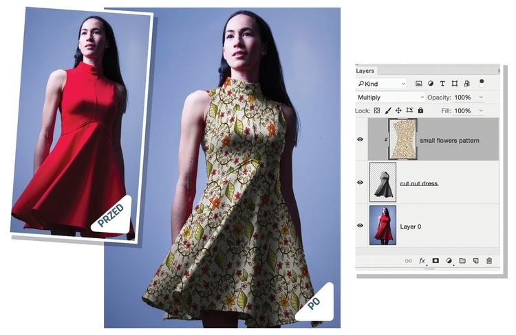 Nałóż wzór Najpierw wytnij sukienkę i usuń z niej kolor ([Ctrl]/[Cmd]+[Shift]+[U]). Następnie ukryj wszystkie pozostałe warstwy i zapisz dokument w formacie PSD. Teraz zaimportuj jakiś wzór i upewnij się, że przykrywa on całą sukienkę. Kliknij warstwę prawym przyciskiem myszy i wybierz polecenie Utwórz maskę przycinającą, a następnie zmień tryb mieszania na Pomnóż. Wywołaj Filtr>Zniekształcanie> >Przemieszczanie. Wpisz w okienka Skalowanie poziome i pionowe wartości około 50.