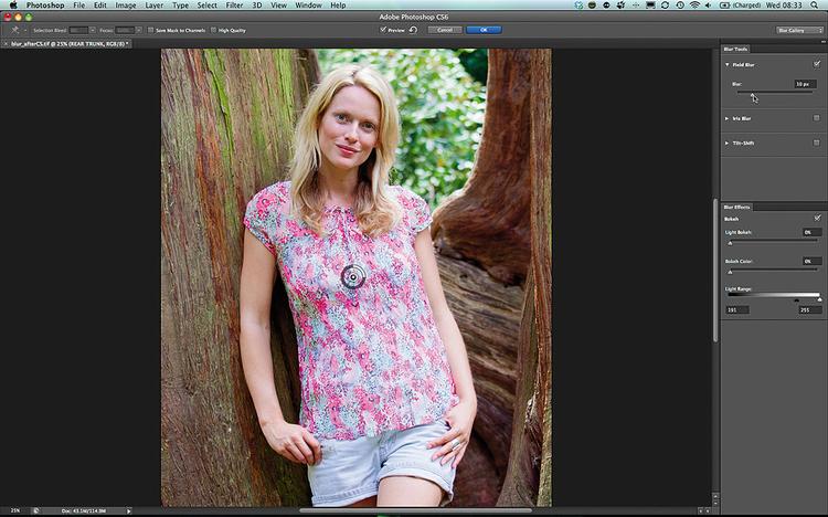 Edycja w Photosopie CS6 - Stosujemy filtr Field Blur Po stworzeniu maski i kliknięciu warstwy Tylny pień, wybierz polecenie Filtr>Rozmycie>Field Blur. Pozwala on uzyskać efekt przypominający rozmycie tworzone przez obiektyw. Przeciągnij suwak do wartości 10 pikseli, by delikatnie rozmyć pień drzewa w głębi.