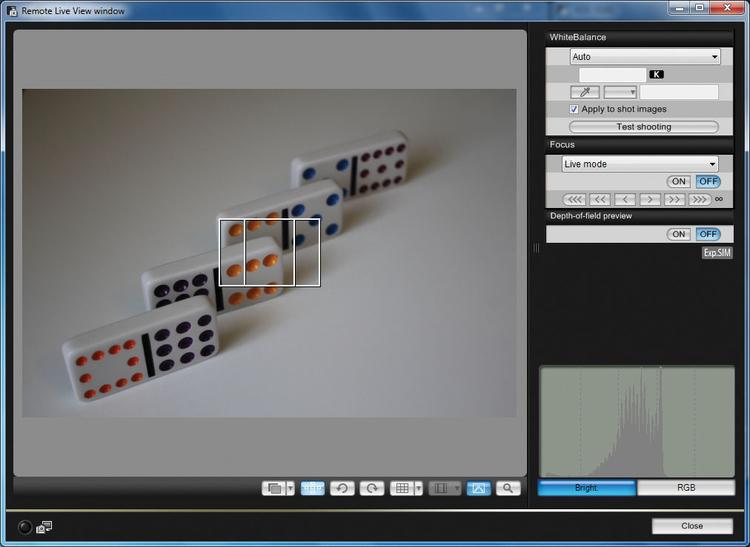 Zdjęcie testowe Program umożliwia szybkie zrobienie zdjęcia testowego i podejrzenie go na monitorze, jednak lepiej sprawdza się opcja Live View, jeżeli tylko Wasz aparat taką ma.
