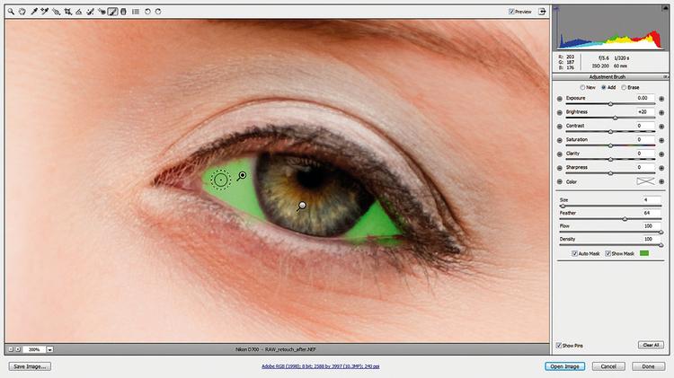 Rozjaśniamy białka Klikamy Nowy i dodajemy kolejną pinezkę, pod którą malujemy białka oczu. Sprawdzamy Pokaż maskę i Maska Automatyczna. Pomoże to ograniczyć maskę tylko do obszaru białek oczu. Resetujemy wszystkie suwaki i ustawiamy Jasność na +20.
