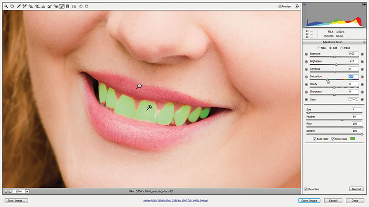 Rozjaśniamy zęby Dodajemy pinezkę do zębów, klikamy na Automatyczna maska oraz Pokaż maskę, po czym malujemy po zębach. Resetujemy wszystkie suwaki, zmieniamy kolor tinty na biały, przestawiamy Jasność na +15. Nasycenie przesuwamy do -20, by zredukować żółte przebarwienie.