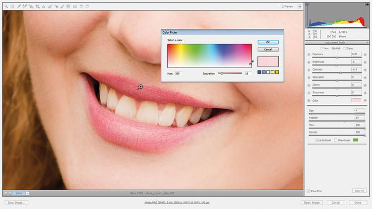 Poprawiamy ustawienia Dodajemy nową pinezkę do ust, malujemy po nich, by nałożyć kolejną maskę. Chowamy maskę i resetujemy suwaki, potem przestawiamy Jasność na -6, Kontrast na +14. Można dodać ustom delikatnej tinty. Kliknijcie na okno kolorów i wybierzcie odpowiedni kolor.