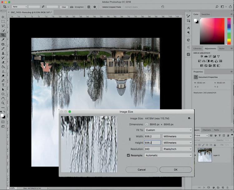 Następnie musisz dopasować rozmiar całego obrazu, tak aby wysokość odpowiadała jego szerokości, uzyskując w efekcie kadr kwadratowy. Wywołaj polecenie Obraz>Rozmiar obrazu i wpisz odpowiednią wartość w polu Wysokość. Nie martw się, jeśli spowoduje to, że obraz będzie wyglądał dziwnie: poprawimy to w następnym kroku.
