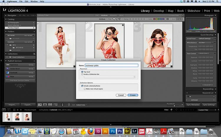 """Tworzymy kolekcjęNaciśnij [G] i w widoku miniatur Attribute. Zaznacz flagę i [Cmd]/[Ctrl]+[A], aby wskazać zdjęcia. W panelu Collections kliknij +, wybierz Create Collection. Nazwij ją """"stroje kąpielowe"""" i naciśnij Create. Z [Cmd]/[Ctrl] kliknij zdjęcia z okularami przeciwsłonecznymi, aby stworzyć inną kolekcję - """"okulary przeciwsłoneczne""""."""