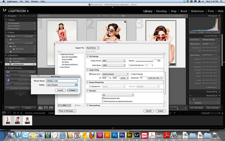 Eksportujemy pliki Wybierz File>Eksport i wskaż miejsce docelowe. Jeśli chcesz wyeksportować pliki JPEG o szerokości 1600 pikseli, wprowadź wartość w okienko określające szerokość. W Resolution wpisz 72. Kliknij Add na dole po lewej stronie, aby zapisać ustawienia w bibliotece gotowych ustawień. Na koniec kliknij przycisk Export.
