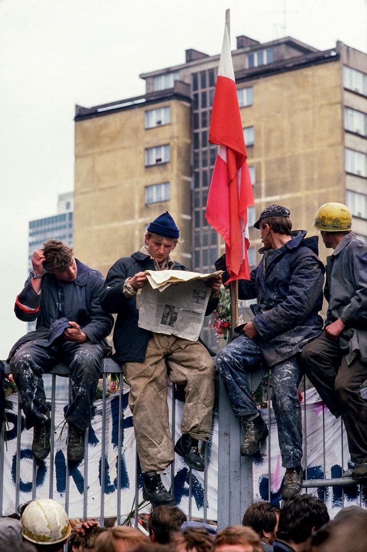 Gdańsk, stocznia im. Lenina, maj 1988 r., fot. Chris Niedenthal