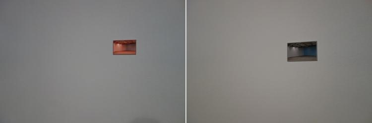 """Łukasz Jastrubczak Balans Bieli, mural, dwie odbitki fotograficzne 8,4x13,4cm, wydruk atramentowy, Wystawa """"Oddźwięki"""" Jakuba Woynarowskiego, Miesiąc Fotografii w Krakowie 2014"""