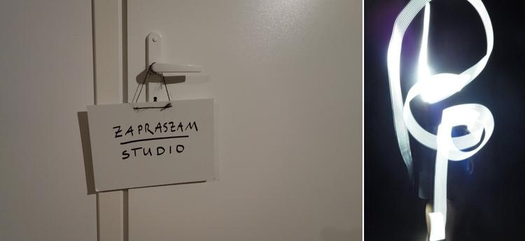 """Warsztatowa część """"wewnętrzna"""" składa się z całkowicie zaciemnionego studio fotograficznego, gdzie można poeksperymentować z malowaniem światłem. Wystawa """"Oddźwięki"""" Jakuba Woynarowskiego, Miesiąc Fotografii w Krakowie 2014"""