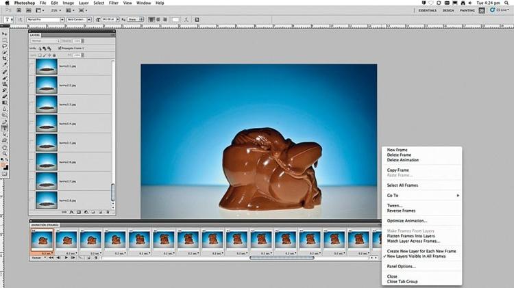Zrób filmOtwórzcie wszystkie zdjęcia na warstwach i przejdźcie do Okno>Animacja. Z rozwijanego menu wybierzcie Zrób klatki z warstw, następnie Zaznacz wszystkie warstwy. Ustawcie opóźnienie 0,2 s i wciśnijcie Play. Zapiszcie plik, fot. Ben Brian
