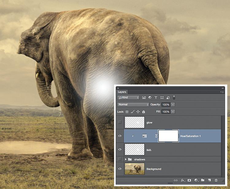 """Stwórz warstwę z poświatą Utwórz kopię tej warstwy, naciskając kombinację klawiszy [Ctrl] + [J] ([Cmd] + [J] na komputerach Mac). Zmień jej nazwę na """"Poświata"""". Wyłącz na chwilę widoczność warstwy Poświata i kliknij warstwę Słońce, aby ją uaktywnić. Za pomocą ikonki – znajdującej się u dołu palety Warstwy – dodaj warstwę dopasowania Barwa/Nasycenie."""