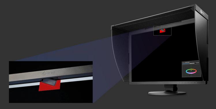 Wbudowany kalibrator   W najnowszych monitorach Eizo ColorEdge wbudowany jest czujnik automatycznej kalibracji, który wysuwa się tylko podczas przeprowadzania kalibracji. Bez problemu działa także w trybie portretowym.