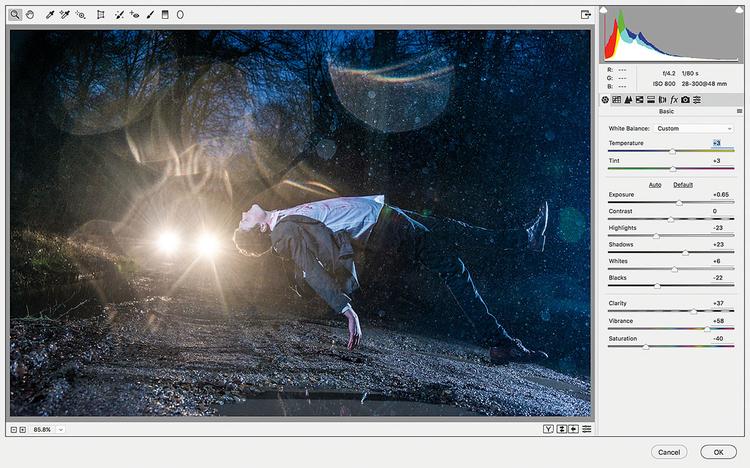 Na koniec przeprowadź wszelkie korekty tonalne, które uważasz za niezbędne do nadania zdjęciu odpowiedniego nastroju. My użyliśmy do tego celu filtra Camera Raw. Scal warstwy, a następnie wywołaj polecenie Filtr>Filtr Camera Raw. Użyj suwaków, aby zwiększyć kontrast, poprawić kolorystykę i zwiększyć przejrzystość. Kliknij OK.