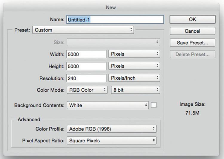 Przygotuj obszar roboczy    Utwórz w Photoshopie nowy pusty dokument, wywołując polecenie Plik>Nowy. W oknie dialogowym, które pojawi się na ekranie, należy wpisać w polach Szerokość i Wysokość wartość 5000 pikseli, zaś Rozdzielczość ustawić na 240 px na cal. Upewnij się, że w rozwijanym menu Zawartość tła wybrana jest pozycja Białe, po czym kliknij przycisk OK, aby otworzyć nowy dokument.