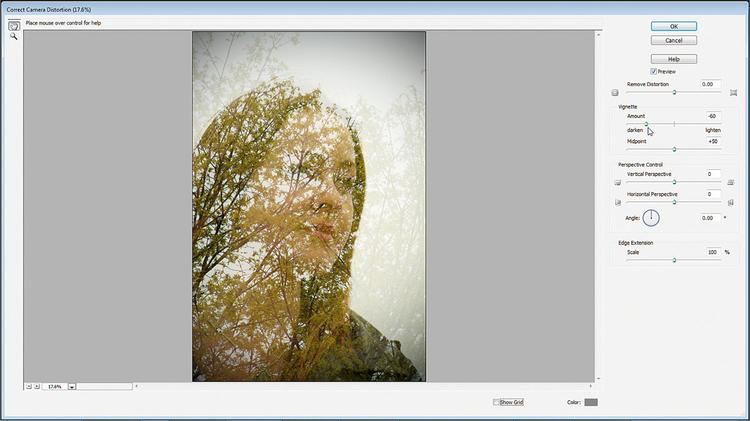 Dodajemy winietę Klikamy na ikonę Stwórz nową warstwę. Klikamy dwukrotnie na nazwę warstwy i zmieniamy na Winieta. Następnie wciskamy Ctrl+Shift+Alt+E i tworzymy spłaszczoną warstwę zdjęcia, przenosimy ją na górę palety. Idziemy do Filtr>Korekta wad obiektywu, suwak Winiety przesuwamy do -60, OK.
