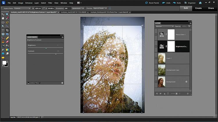 Podbijamy tony i kolory Klikamy na ikonę Stwórz nową warstwę dopasowania i wybieramy Jasność/Kontrast. Ustawiamy Jasność na +5, Kontrast do +60. Dodajemy Warstwę dopasowania Filtr fotograficzny i wybieramy Filtr ochładzający (80) z Gęstością 30. Sięgamy po narzędzie kadrowania i przycinamy ciaśniej.
