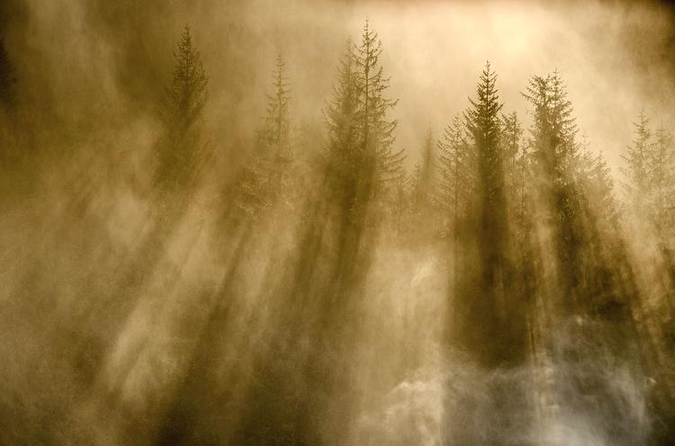 Słońce i poranna mgła - efekt murowany