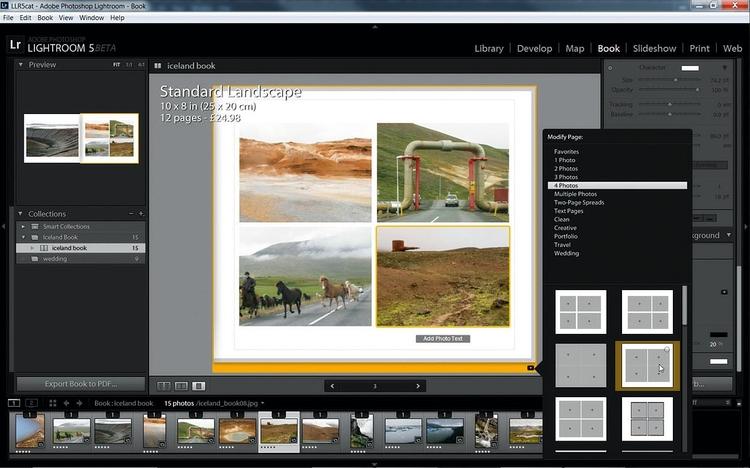 """Projektujemy strony Zaznacz dowolną stronę, a następnie kliknij małą strzałkę pod nią, aby wskazać, jak ma ona wyglądać. My wybraliśmy szablon o nazwie """"4 photos"""". Żeby powiększyć podgląd, kliknij jedną z trzech ikon opcji widoku, widocznych z lewej strony u dołu."""