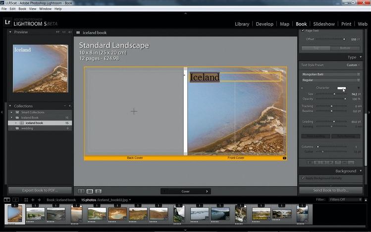 Projektujemy okładkę Wybierz jeden z szablonów, a następnie ikonę Add Photo Text i wpisz tytuł. Określ rozmiar i krój czcionki w opcjach panelu Type. Możesz dowolnie zmieniać pozycję pola tekstowego, przeciągając je w górę lub w dół. Aby umieścić napis na grzbiecie, kliknij go i wpisz wymyślony przez siebie tekst.