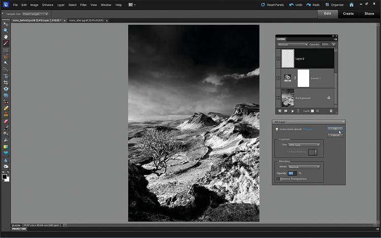 Tworzymy szarą warstwę By dodać zdjęciu dramatyzmu, możemy wokreślonych obszarach podbić kontrast. Klikamy naikonę znajdującą się u dołu palety – Stwórz nową warstwę, następnie Edycja>Wypełnij, z rozwijanego menu wybieramy 50% szarość. Klikamy OK, tryb mieszania nowej warstwy ustawiamy na Nakładkę.