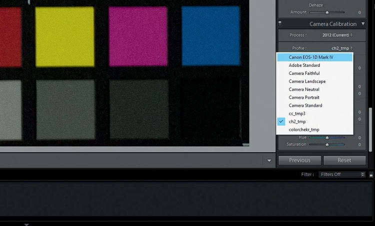 Po wciśnięciu OK, wygeneruje się profil, który po zrestartowaniu Lightrooma pojawi się w zakładce Camera Calibration obok standardowych profili Twojego aparatu.