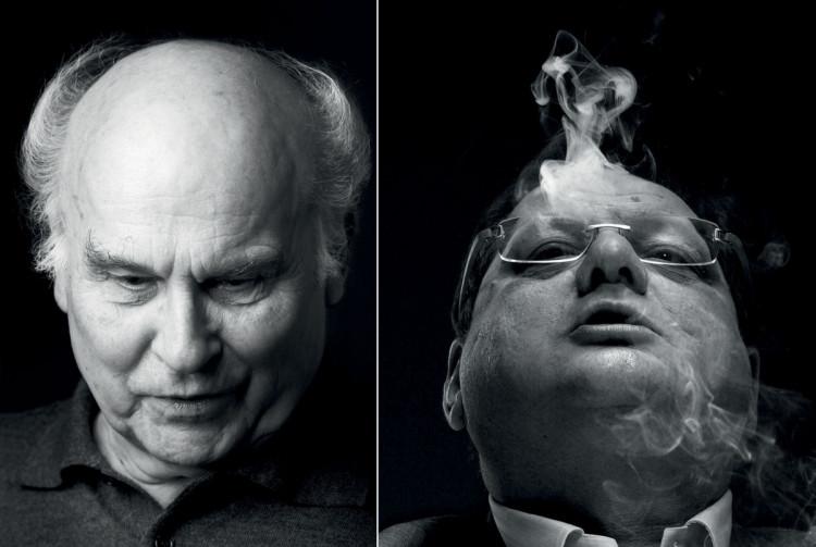 Ryszard Kapuściński (2006 r.) po lewej i Ryszard Kalisz (2009 r.) po prawej, fot. Andrzej Świetlik.