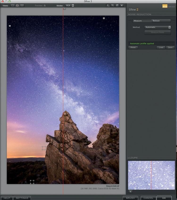 Zdjęcie wygląda świetnie, ale mocno wyostrzony obraz zarejestrowany przy wysokiej czułości matrycy wymaga zastosowania redukcji szumu. Uwielbiam używać w tym celu Nik Define (bezpłatnego programu, który można pobrać ze strony www.google.com/nikcollection). Uruchom aplikację i zmniejsz poziom zaszumienia obrazu, a następnie ponownie otwórz zdjęcie w Lightroomie.