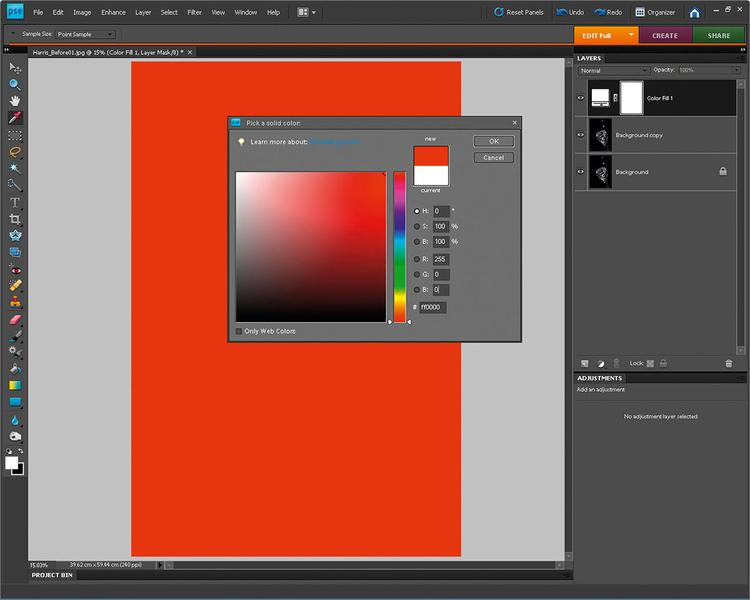 Tworzymy kanał czerwonyOtwieramy pliki HarrisEffect_Before.jpg. Prawym przyciskiem myszy klikamy na warstwę ze zdjęciem i kopiujemy ją. Klikamy na półksiężyc u dołu palety warstw i tworzymy nowy Kolor Kryjący. Chcemy, by pierwsza warstwa była czerwona, więc wpisujemy R:255, G:0, B:0.