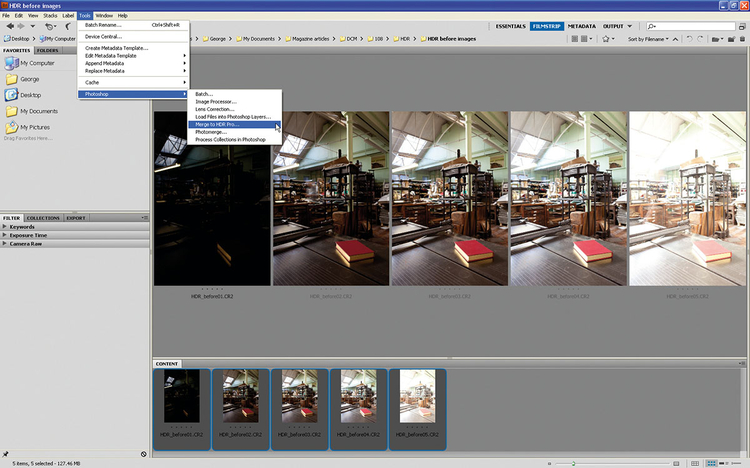 Otwieramy zdjęciaOtwieramy zdjęcia w programie Bridge. Wybieramy wszystkie z wciśniętym Shiftem. Idziemy do menu Narzędzia, wybieramy Photoshop>Scal do HDR Pro. Zdjęcia zostają automatycznie dodane na oddzielne warstwy w Photosopie, następnie otwierają się w oknie Scal do HDR Pro.