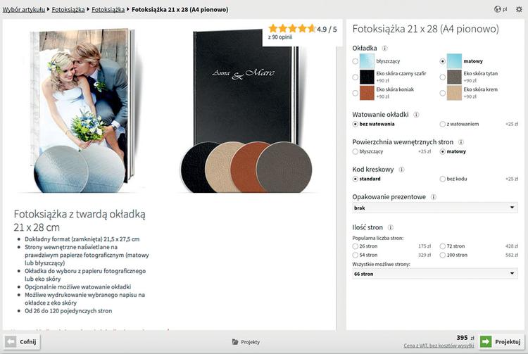 Wejdź na stronę www.saal-digital.pl i pobierz dedykowaną aplikację (możliwe jest również projektowanie albumu on-line). W pierwszej kolejności wybierz format, ilość stron i typ i gramaturę papieru a także wykończenie okładki. Kliknij PROJEKTUJ!