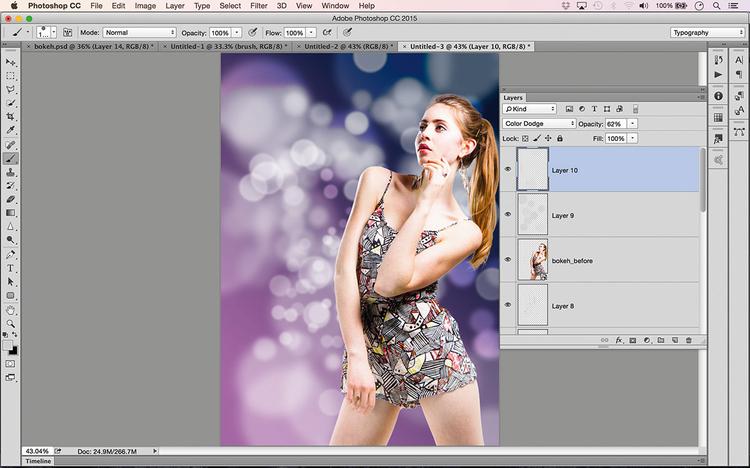 Maluj dalej i rozmywaj, dodając kolejne warstwy (wszystkie z trybem mieszania ustawionym na Rozjaśnianie), zmieniając też rozmiar pędzla i rozmycie. Wywołaj polecenie Plik>Umieść osadzone i otwórz wyszparowany portret, który nałożysz na pomalowane warstwy. Teraz dodaj kilka warstw z efektem bokeh na wierzchu. Jeżeli zechcesz scalić warstwy, naciśnij skrót [Ctrl]/[Cmd] + [Shift] + [Alt] + [E].