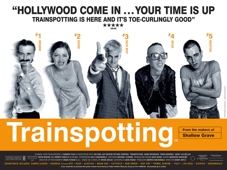 Plakat do filmu Trainspotting, 1995 r., fot. Lorenzo Agius
